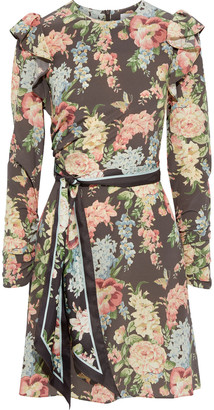 Zimmermann Espionage Belted Floral-print Silk-blend Crepe De Chine Mini Dress