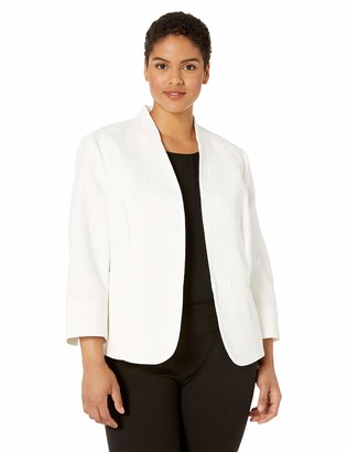Kasper Women's Petite Stand Collar Fly Away Daisy Jacquard Jacket