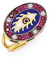Americana Holly Dyment Women's Eye 18K Gold, Tourmaline & Diamond Ring