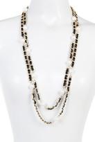 Natasha Accessories Faux Pearl Ribbon Chain Layered Necklace