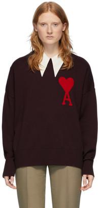 Ami Alexandre Mattiussi Burgundy Ami De Coeur Sweater