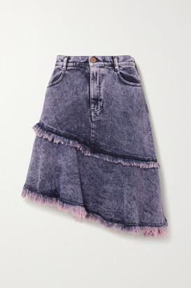 See by Chloe Asymmetric Tiered Frayed Acid-wash Denim Skirt - Mid denim