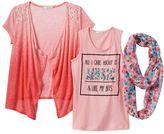Self Esteem Girls 7-16 & Plus Size Graphic Tank, Ombre Cardigan & Floral Scarf