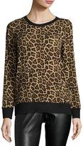 MICHAEL Michael Kors Leopard-Print Pullover Sweater, Khaki