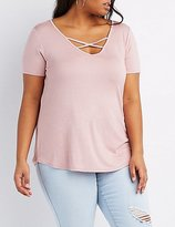 Charlotte Russe Plus Size Strappy Caged Boyfriend Tee