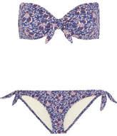 Eberjey Lola Ursula Floral-print Bandeau Bikini - Blue