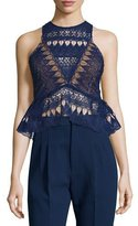 Self-Portrait Sleeveless Lace Peplum Top, Navy
