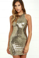 LuLu*s Shining Splendor Gold Sequin Bodycon Dress