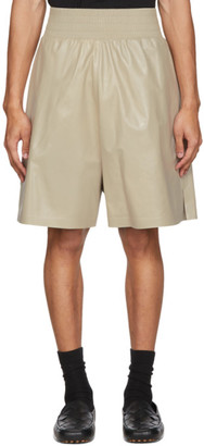 Bottega Veneta Off-White Shiny Leather Shorts