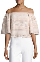Alexis Finn Off-the-Shoulder Lace Top, Beige