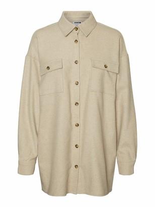 Noisy May Women's NMFLANNY L/S LONG SHACKET BG S Jacket