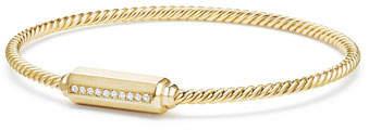 David Yurman 18K Gold Barrel Bracelet with Diamonds, Size M