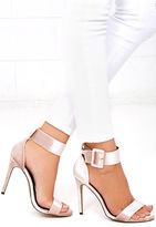 Liliana Love and Luck Nude Velvet Ankle Strap Heels