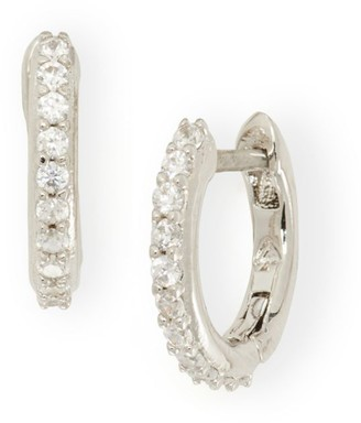 Kate Spade White Goldplated & Cubic Zirconia Pave Huggie Hoop Earrings