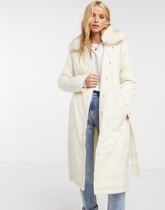 Fashion Union puffer coat with faux-fur trim and belt