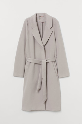 H&M Felted coat with a tie belt