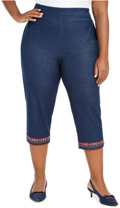 Alfred Dunner Plus Size Road Trip Embroidered Knit-Denim Capri Pants