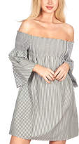 Go Coco GO COCO Women's Casual Dresses OLIVE - Olive Stripe Bell-Sleeve Off-Shoulder Dress - Juniors