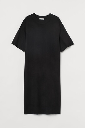 H&M Fine-knit T-shirt Dress - Black