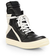 Rick Owens Bicolor Leather Lace-Up Sneakers