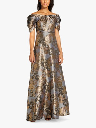 Adrianna Papell Puff Sleeve Floral Maxi Gown, Gold/Moonlight Blue