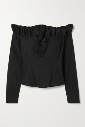 Marques Almeida Off-the-shoulder Lace-up Ruffled Organic Cotton-poplin Top - Black