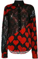 Philipp Plein heart lace panel shirt - women - Silk/Spandex/Elastane - S