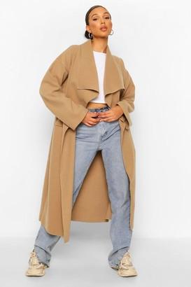 boohoo Petite Waterfall Maxi Wool Look Coat