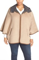 Ellen Tracy Plus Size Women's Double Face Hooded Cape Coat