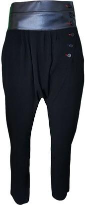 Lalipop Design Black Harem Pants With Colored Buttonholes & Vegan Leather Waistline