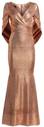Talbot Runhof Eternity-Sleeve Metallic Gown