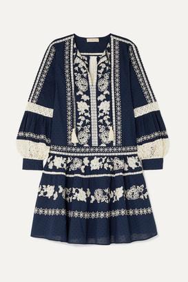 Tory Burch Boho Crochet-trimmed Embroidered Swiss-dot Cotton Mini Dress - Navy