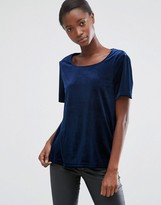 B.young Midnight Velvet Top with Slit Open Back