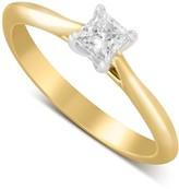 Aurora 18ct gold 0.25 carat princess cut diamond solitaire ring