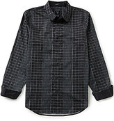 GUESS Spaced-Dyed Geometric/Check-Printed Long-Sleeve Shirt