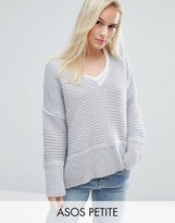 Asos Chunky Sweater In Fluffy Yarn With V Neck