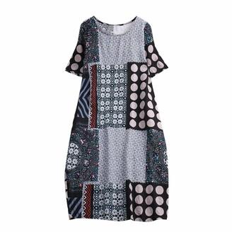 Toamen Women's Dress Toamen Vintage Boho Dress Sale Women Casual Floral Print Short Sleeve Loose Beach Party Swing A-line Maxi Dress (Gray 16)