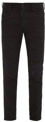 DSQUARED2 Black Bull Ripped Slim-leg Jeans - Black