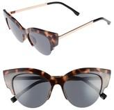 BP Women's 52Mm Cat Eye Sunglasses - Marble/ Black