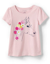 Classic Little Girls Scallop Edge Novelty Graphic Tee-Horse Flowers
