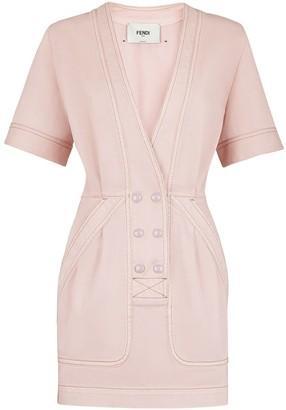 Fendi double-breasted deep-V denim dress