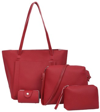 Sonnena Bags Clearence!Sonnena Women Four Set Handbag Shoulder Bags Four Pieces Tote Bag Crossbody Wallet Red