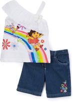 Children's Apparel Network White Dora Rainbow Asymmetrical Top & Shorts - Girls