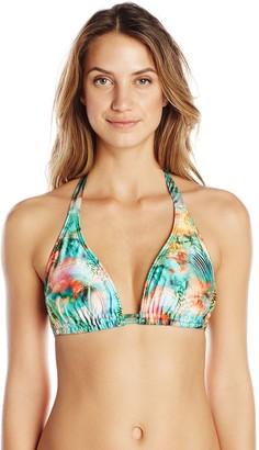 Luli Fama Women's Miami Nice D/DD Cup Triangle Halter Bikini Top