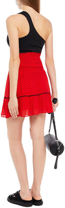 Ganni Shirred Polka-dot Georgette Mini Skirt