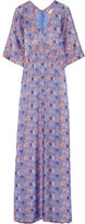 Tory Burch Corinne Printed Silk-blend Maxi Dress - Purple