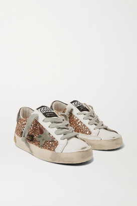 Golden Goose Kids - Sizes 28 - 35 Superstar Glittered Distressed Leather Sneakers