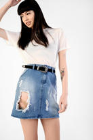 Glamorous Light Blue Wash Distressed Mini Skirt