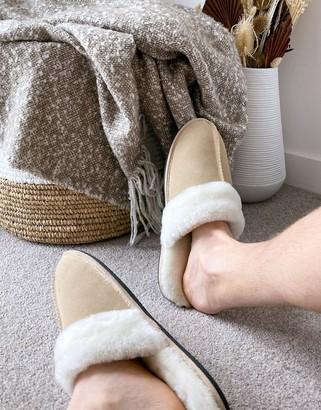 ASOS DESIGN premium sheepskin slipper in beige