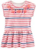 Osh Kosh Girls 4-8 Embroidered Flower Stripe Peplum Top
